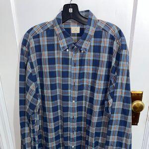 J. Crew Button Down Shirt Cotton Blue Plaid XLT
